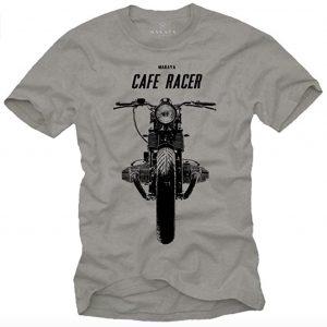 Un tee shirt avec une moto et une inscription cafe racer