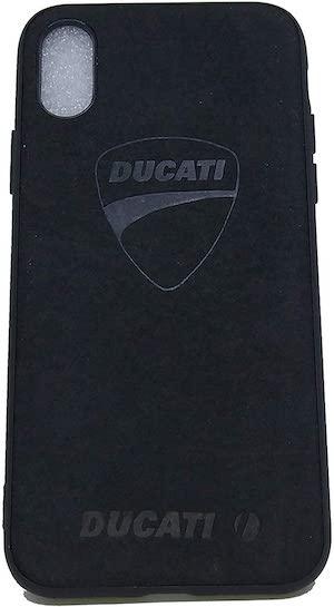 une coque d'iphone X et XS ducati en alcantara noir